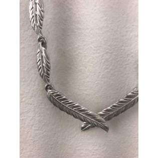 Silver Leaf and Feather Necklace
