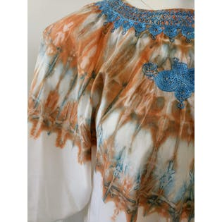 70's Orange and Blue Tie Dye Caftan