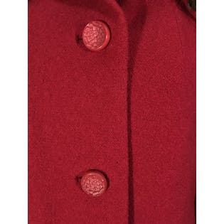 60's Red Buttoned Coat by Forstmann