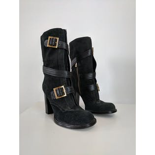 Black Heeled Mid Boots with Straps Ans Buckles by Tory Burch