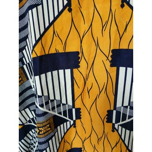 Orange and Navy Patterned Caftan