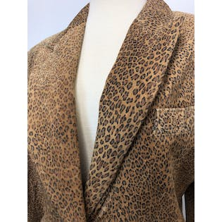 90's Suede Leopard Print Blazer by The Limited