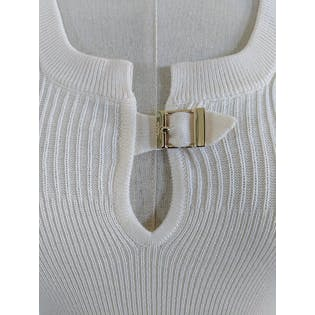 Cream Knit Tank with Gold Buckle by Gucci