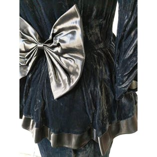 80's Black Velvet Cocktail Dress with Bow by Kwai