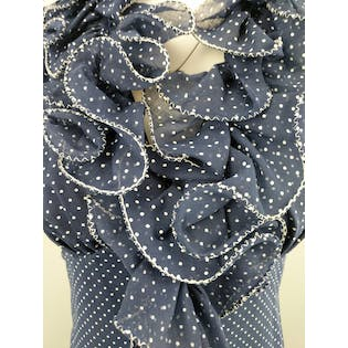 Polka Dot Sleeveless Maxi with Ruffle Collar