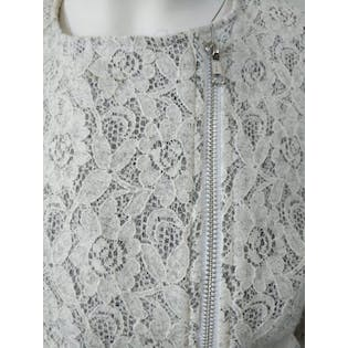 White and Gray Lace Jacket with Asymmetrical Zipper by Sabrina