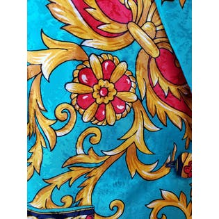 Bright Blue Gold and Red Printed Balzer by Anastasia