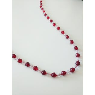 Red and White Long Beaded Necklace