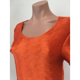 90's Orange Accordion Blouse by Moffi