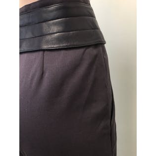 Purple Wool and Leather High Waisted Pants