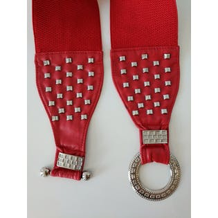 Wide Red Belt with Silver Studs