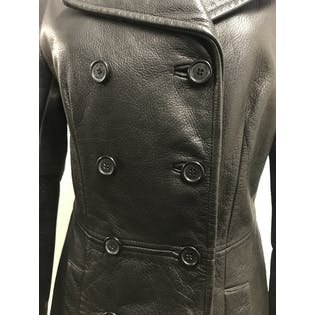 Black Leather Trench Jacket by Jones New York
