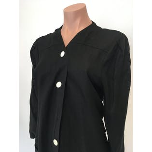 80's Black Linen White Button Up Midi Dress by Marilyn
