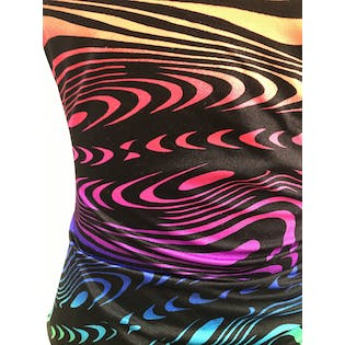 90's Abstract Rainbow Ruched One Piece Swimsuit