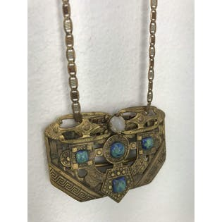 30's Brass Pendant Necklace with Blue and Green Accents