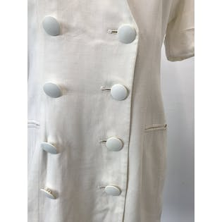 80's White Linen Double Breasted Suit Dress by Ann Taylor