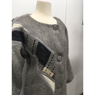 80's Gray Wool Coat with Plaid Abstract Patchwork Detail