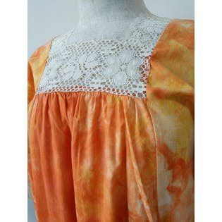 70's Lace Tie-Dyed Caftan by Cory Of California