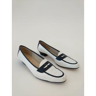 White Loafers with Navy Accentsby Sabatove Ferragamo