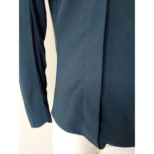Navy Long Sleeved Blouse with Side Zipper