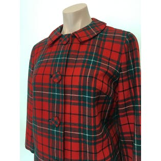 60's Red and Green Plaid Wool Skirt Suit