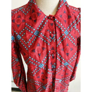 Red and Blue Printed Tie Neck Button Up Shirt by Elegance