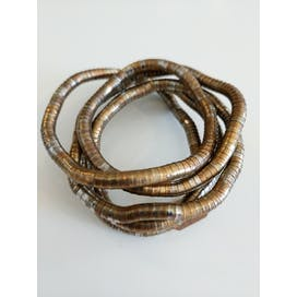 Copper and Silver Tube Wrap Bracelet