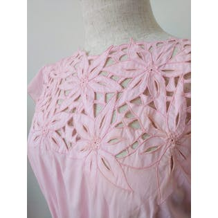 80's Pink Dress with Lace Trim and Collar