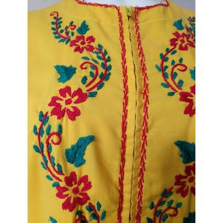 60's Yellow Caftan with Green and Red Embroidery