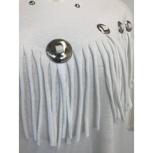80's White Fringe and Silver Concho T-Shirt