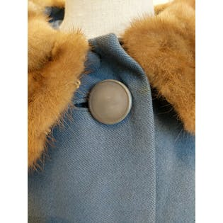 Blue Fur Collar Coat with Large Buttons by SMC
