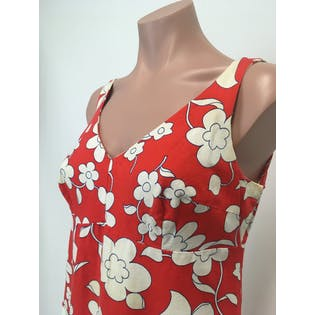 60's Red and White Floral Print Mini Dress