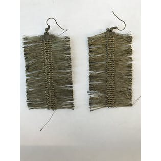 Large Bullion Fringe Feather Earrings by Sarafiné