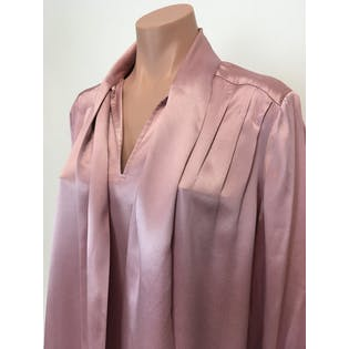 70's Silky Pink Neck Tie Midi Dress