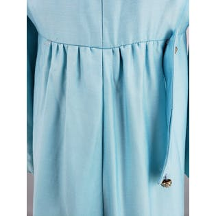 60's Turquoise Maxi Overcoat with Crystal Buttons by Reba Phillips