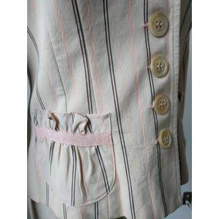 White Blazer with Black and Pink Stripes