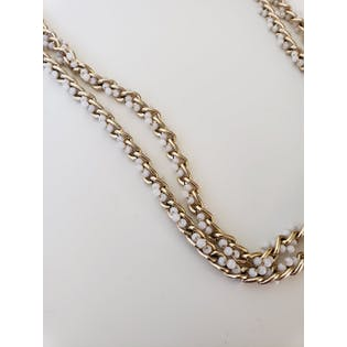 Gold Chain and White Beaded Necklace