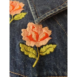 Pink Floral Embroidered Denim Jacket by Bill Blass