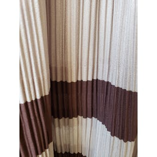 Gray Pleated Dress with Brown Stripe Detail by Hal Ferman