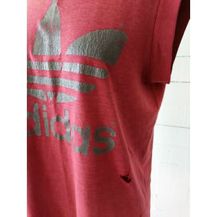 Maroon Distressed Tank Top by Adidas