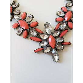Crystal and Coral Floral Necklace