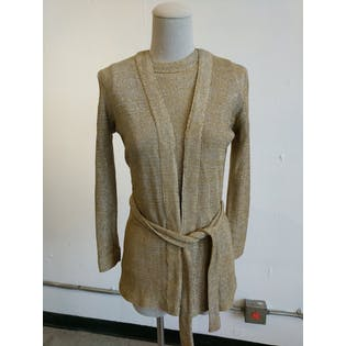 Gold Sleeveless Blouse with Matching Belted Cardigan by Adelaar