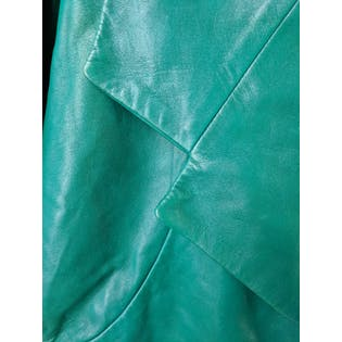 Green Leather Two Piece Suit