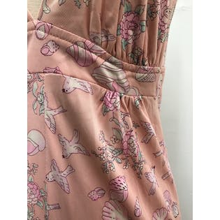 70's Pink Bird, Floral and Shell Print Maxi Halter Dress