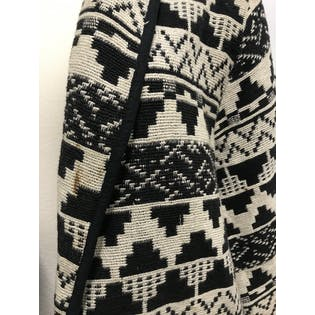 Black and White Geometric Print Shawl Collar Knit Blazer by New Identity