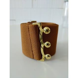 Light Brown Elastic Belt with Gold Detail