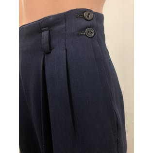 40's Navy Blue Pleated High Waisted Trousers