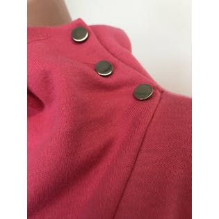 80's Pink Cowl Turtleneck Buttoned Tunic Dress by Chain Gang