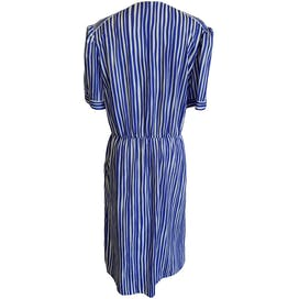 Adjustable Striped Blue and White Dress with Pockets