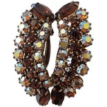 Amber Crystal Clip On Earrings